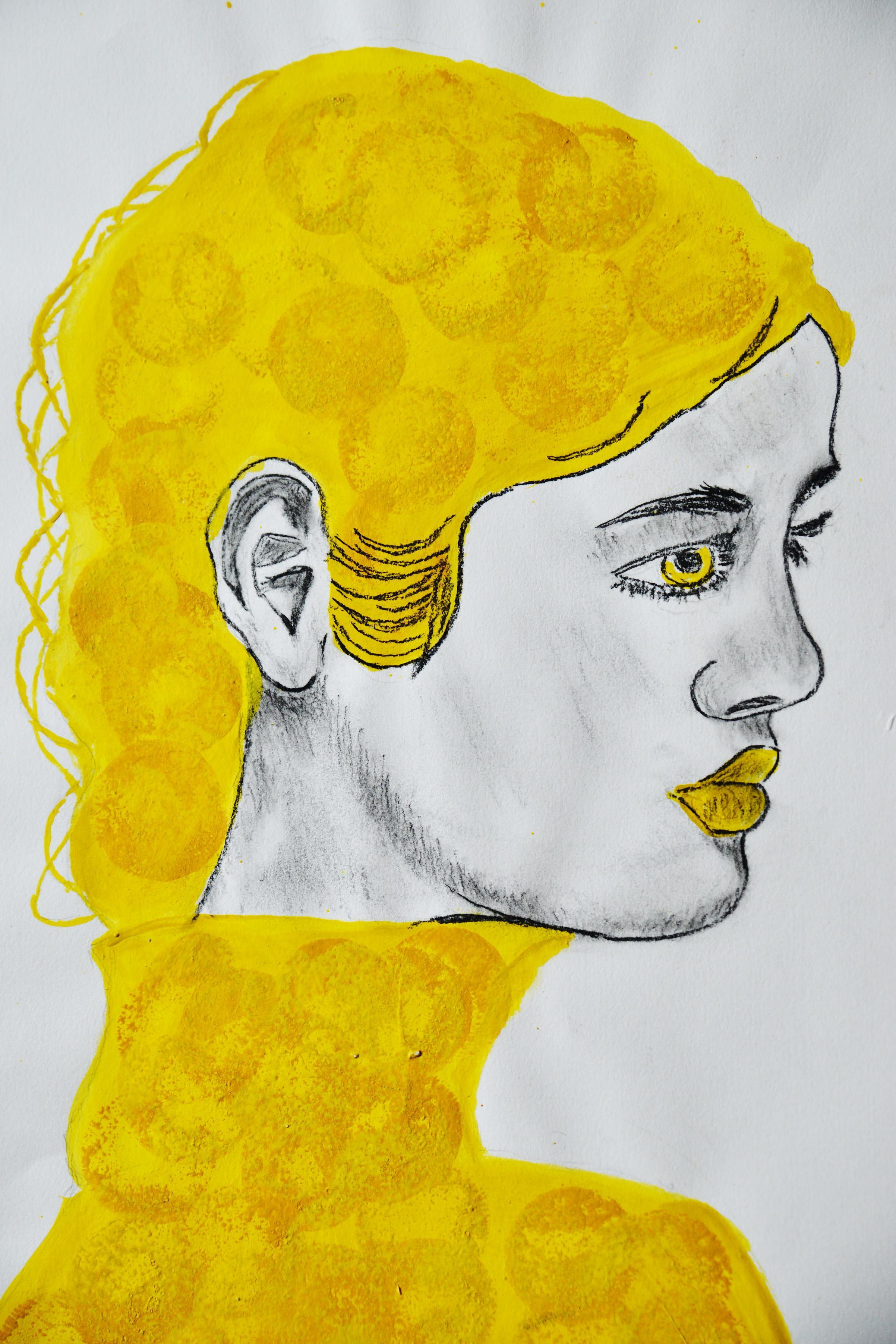 Schwarz, weiß, Gelbes Bild einer Frau